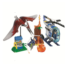 цена на Bela Jurassic World Dinosaur Model Building blocks Pteranodon Escape figure Bricks Compatible With toys for children