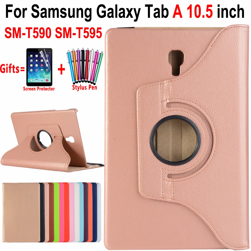 купить 360 Degree Rotatable Leather Smart Case for Samsung Galaxy Tab A A2 10.5 inch 2018 T590 T595 SM-T590 Awake Sleep Cover Funda по цене 569.14 рублей