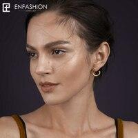 Enfashion Punk Geometric Teeth Stud Earrings Gold Color Ear Jacket Stainless Steel Earrings For Women Earings
