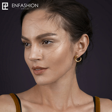 Enfashion punk geométrica dientes Pendientes broche de oro color oreja chaqueta Acero inoxidable Pendientes para las mujeres earings joyería eb171041