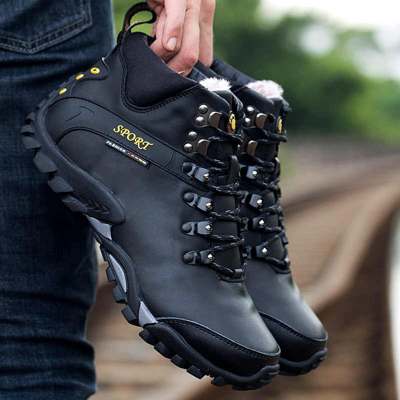 539562e93b1 Winter Men Hiking Snow Boots Leather Waterproof Professional Trekking  Camping Climbing Shoe Mens Warm Tactical Outdoor Shoes