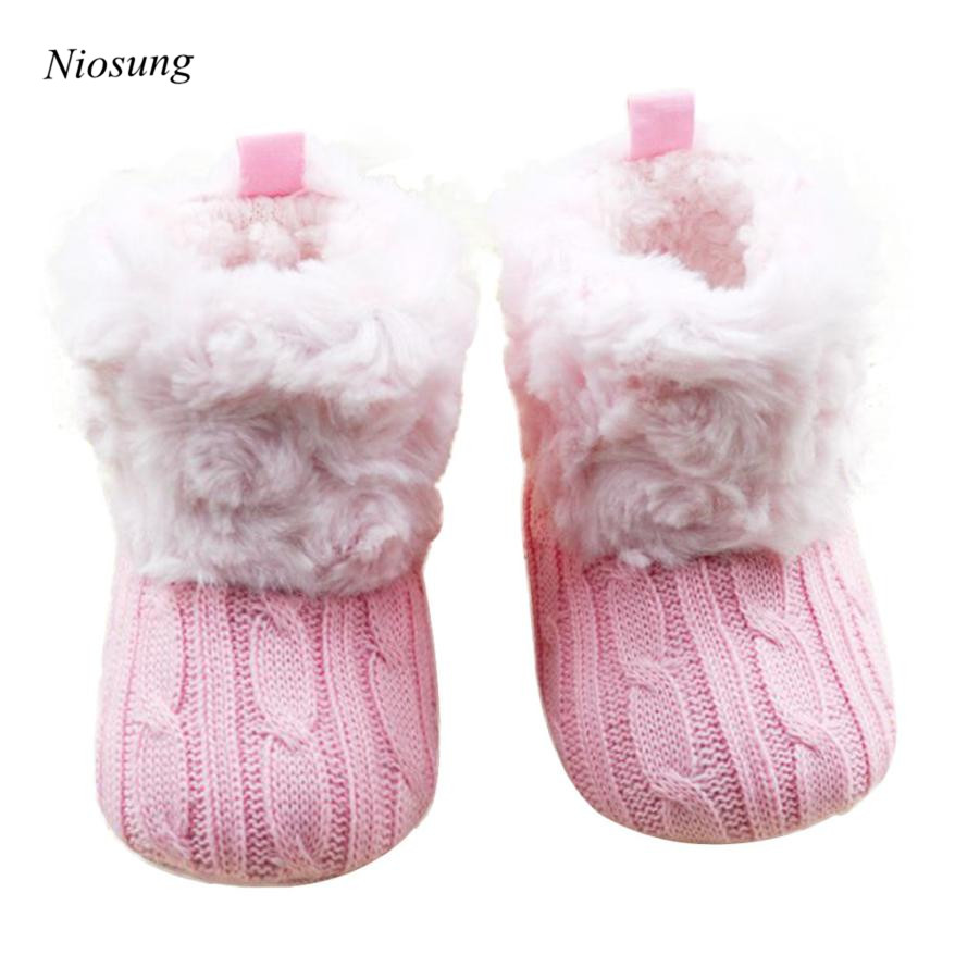 5aefecc9a Niosung جديد سرير الطفل الثلوج الناعمة حذاء طفل الأحذية طفل بنين فتاة  الشتاء الدافئ الأحذية الوردي لمدة 0 ~ 18 متر الطفل v