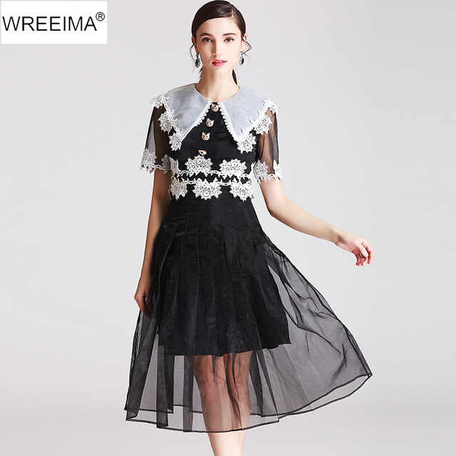 aa1b3437ce207 US $74.19 |WREEIMA mid calf Embroidery Dress 2018 Illusion Neck Women Long  Sleeve Sexy Overlay Dress black Holiday Party Dress MN106 -in Dresses from  ...