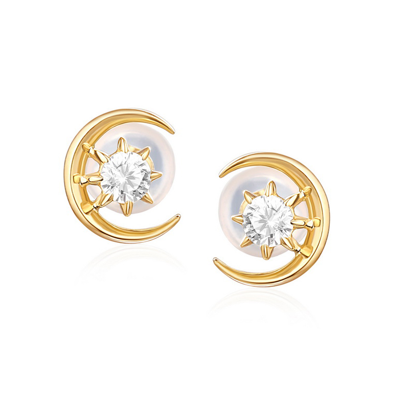 JXXGS Jewelry 14K Gold New Design 3A Cubic Zircon Luxury Earrings Gold Color Stud Earrings For Women