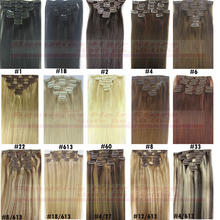 16″ 18″ 20″ 22″ 24″ 26″ 28″ 7pcs Set 100% Brazilian Remy Hair clips In/on Human Hair Extensions 22 Colors 70g 80g 100g 120g 140g