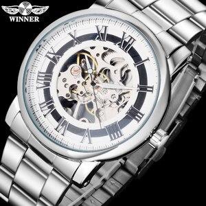 Image 2 - 2016 WINNER 중국 브랜드 남자 비즈니스 기계 손 바람 시계 해골 다이얼 실버 케이스 투명 유리 스테인레스 스틸 밴드
