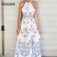 VOGUE N New Womens Ladies Summer Beach Floral Print Lace Mix Sleeveless Maxi Dress Size SML