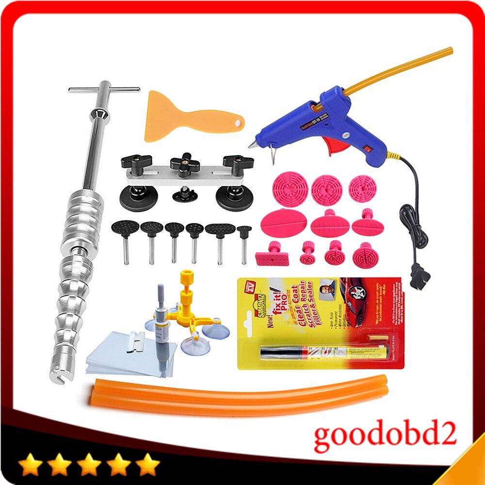 Kit d'outils à main de réparation de Dent de voiture Kit extracteur de Dent outil PDR et pistolet à colle en métal 100 W avec décapant de rayure de stylo de réparation de voiture
