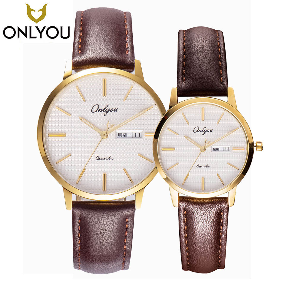 ONLYOU Couple Watch A Pair Of Male Female Students Geneva Quartz Waterproof Leather Belt Lovers Golden Shell White Brown Female geneva heart shaped pattern male quartz watch