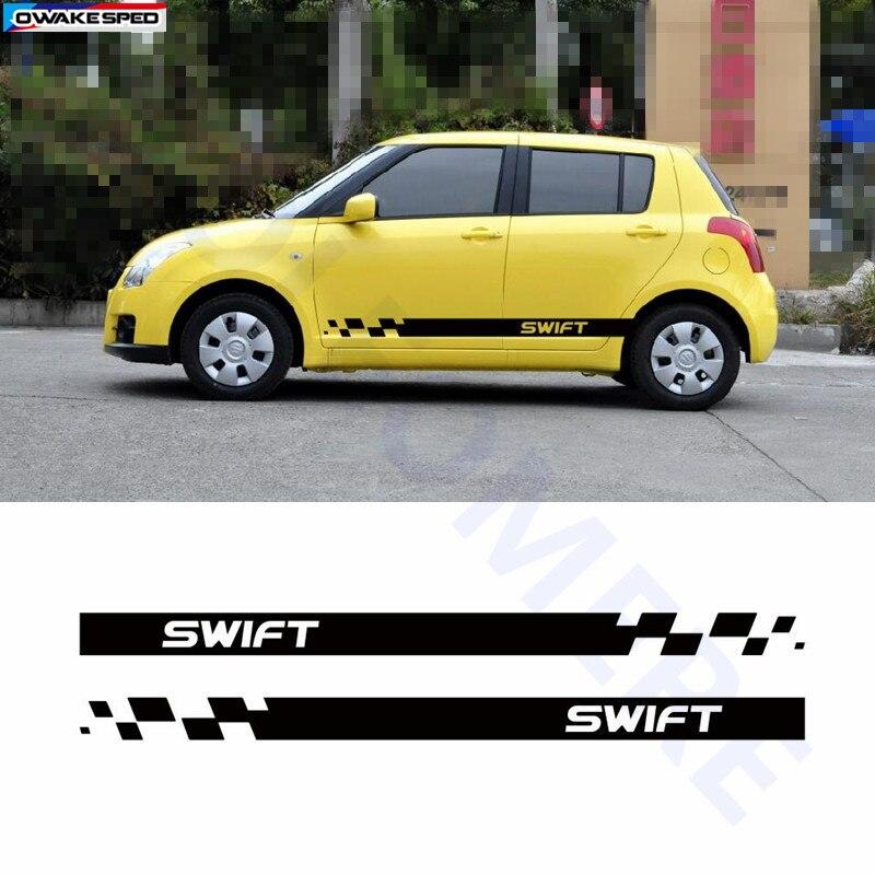 2 Stücke Sport Tür Seite Rock Streifen Auto Styling Körper Dekor Aufkleber Auto Angepasst Aufkleber Für Suzuki Swift