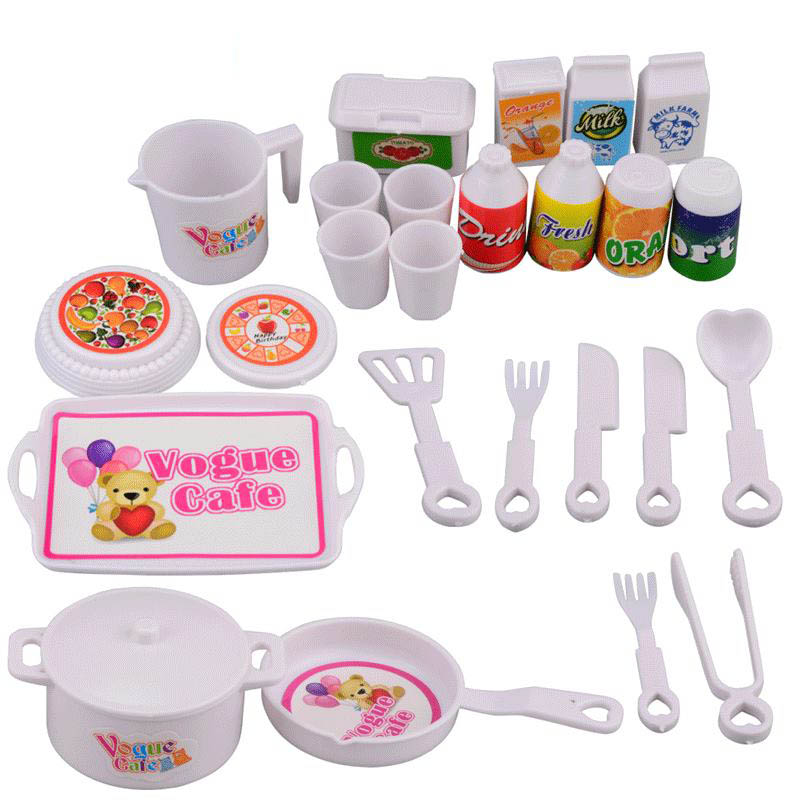 Play House Kitchen Toys Mini Cutlery 25 Piece Set Child Girl Puzzle Simulation DIY Hands-on Creative Tableware Good Gift For Kid
