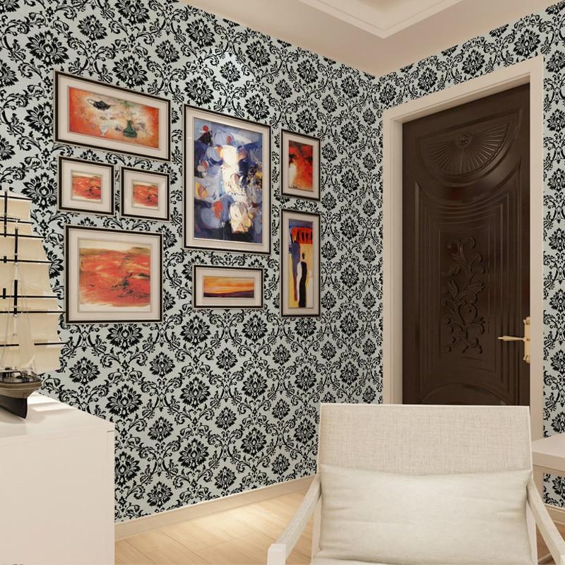 Cheerhuzz luxe noir blanc gaufré flocage papier peint rouleau classique Vintage motif Floral papier peint 3D décoration de la maison WP209