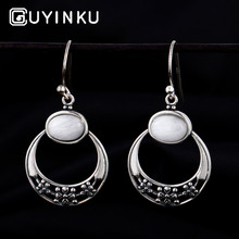 GUYINKU Earrings 925 Sterling Silver Jewelry Oval Natural Moonstone Drop For Women Wedding Engagement Gift