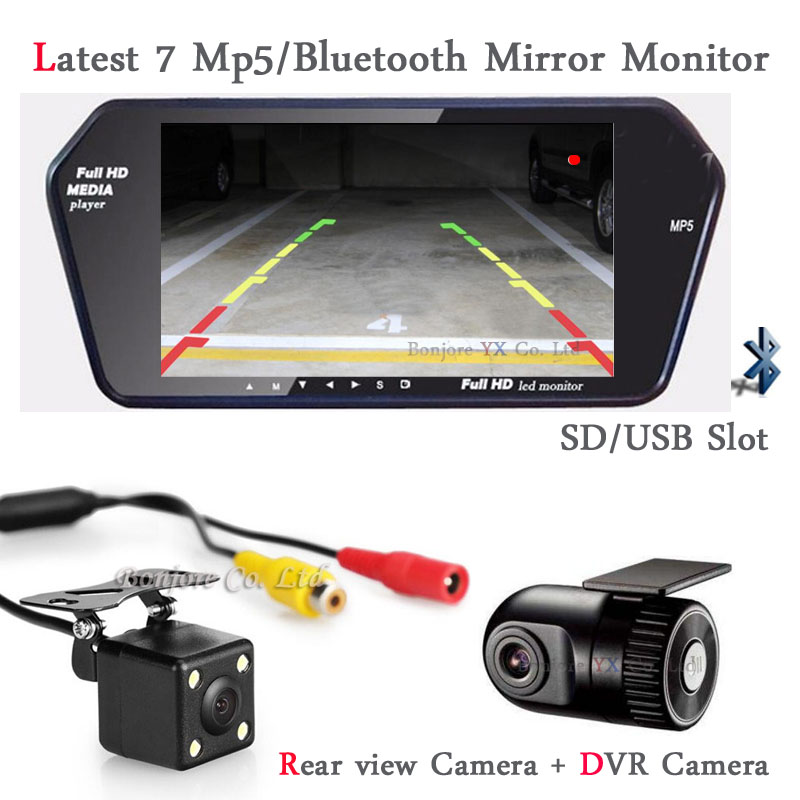 3 in 1 Car Monitor bluetooth MP5 with SD/USB Slot Display Car DVR Camera Dash Cam Hidden Car DVR Recorder with Rearview camera xycing car dvr 360 degree rotating suction cup bracket car holder 3 pin connector for g50 g55 g52d gs52d car dvr camera