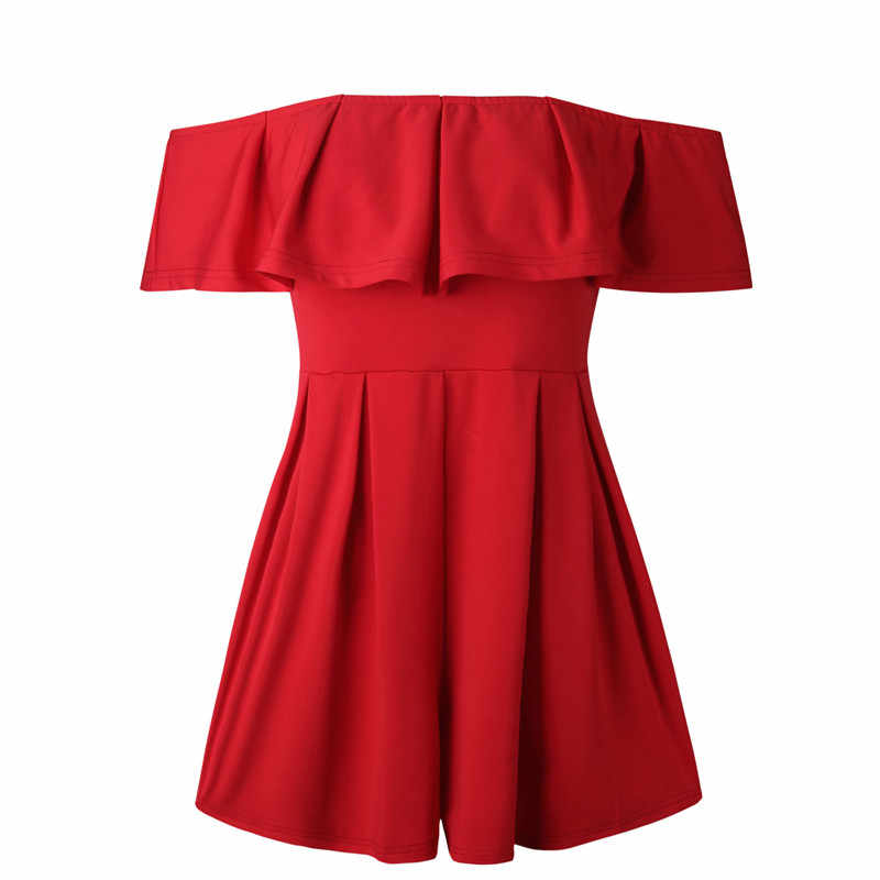 rompers womens jumpsuit shorts 2019 summer fashion off shoulder ruffle playsuits plus size clothing casual one piece outfit 0946
