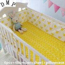 Промо-акция! 6 шт. Набор для детской кроватки супер мягкие детские постельные принадлежности комплекты унисекс, включает(бамперы+ простыни+ наволочки