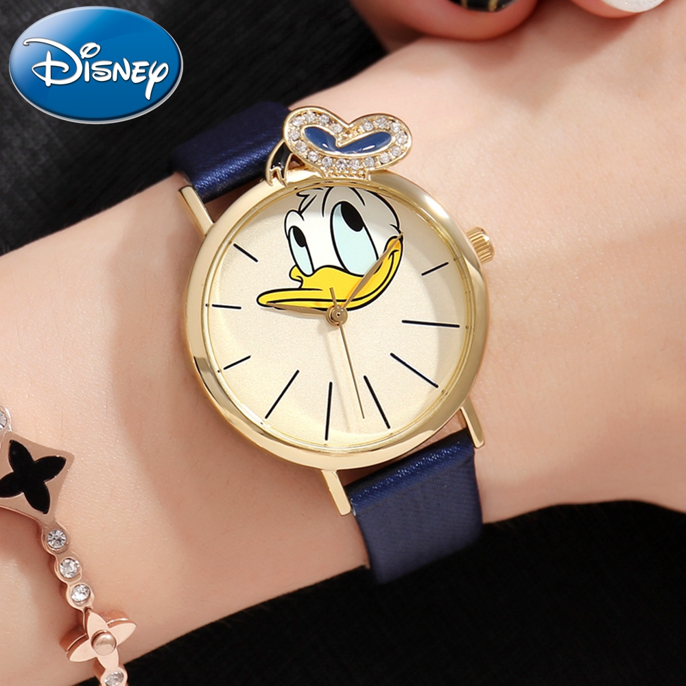 Disney Donald Duck Girl Crystal Quartz Waterproof Watch Student Leather Watches For Children With Gift Box Cartoon Kid Clock New