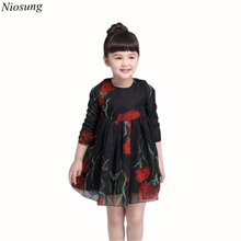 Niosung Fashion Baby Girls Rose Flower Printing Long Sleeve Princess Long Sleeve Dress Kids Child Clothing v
