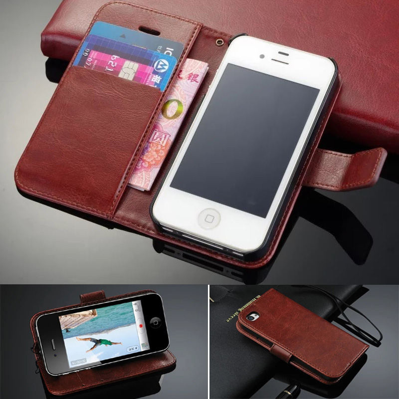 For iPhone <font><b>4s</b></font> 2017 Luxury Retro Wallet Stand Flip Leather <font><b>Case</b></font> For <font><b>Apple</b></font> iPhone 4 <font><b>4s</b></font> 4GS <font><b>Phone</b></font> Cover With Card Slot KickStand