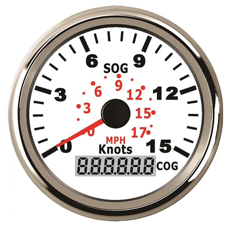 3-3/8'' 85mm GPS Speedometer 15Knots 17MPH Speed Gauge For Boat Yacht Vessels With GPS Speed Sensor Red Backlight 12V / 24V 100% brand new gps speedometer 60knots for auto boat with gps antenna white color