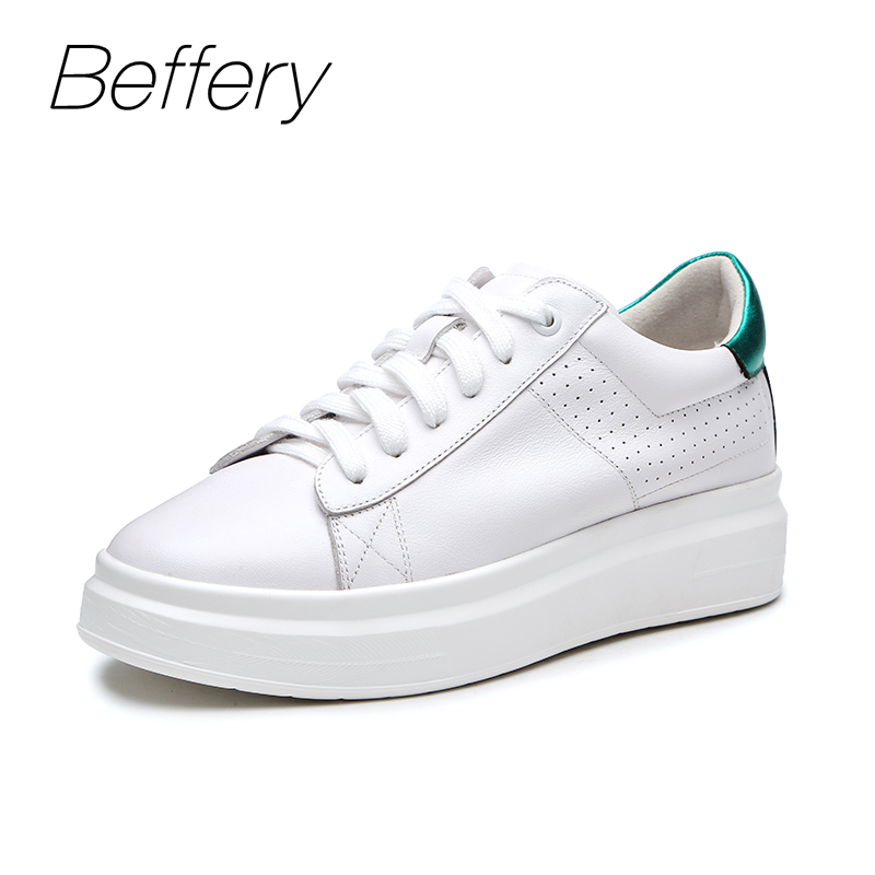 Beffery 2018 New Women Sneakers Fashion Flat Platform Shoes For Women Lace-up Casual Shoes girl White Black Sneakers A1A8111-1 beffery spring summer genuine leather casual sneakers women flat breathable shoes fashion lace up shoes women platform shoes