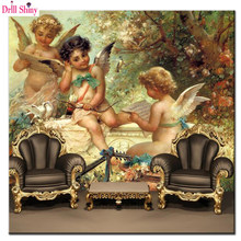 customized large mural 3d European Greek mythology baby angel wallpaper 5d diamond painting embroidery square diamond mosaic(China)