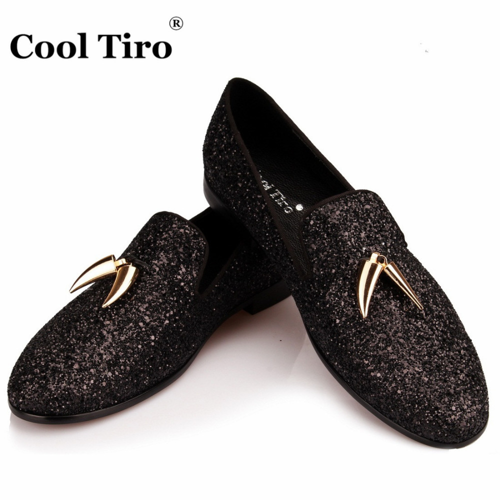 COOL TIRO Black Glitter Loafers Men Smoking Slippers Banquet and prom Dress Shoes Men s Moccasins