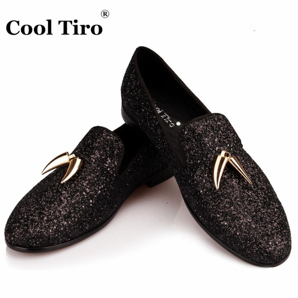 COOL TIRO Black Glitter Loafers Men