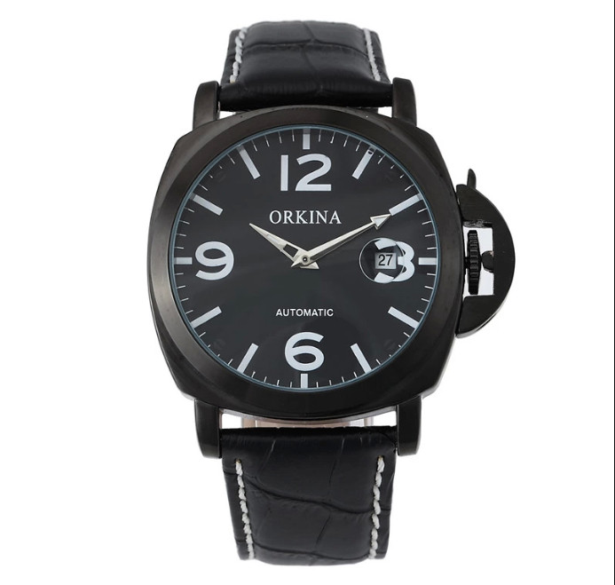 New ORKINA Classic Black Dial Auto Date Display Brown Genuine Leather Band Analog Business Quartz Wrist