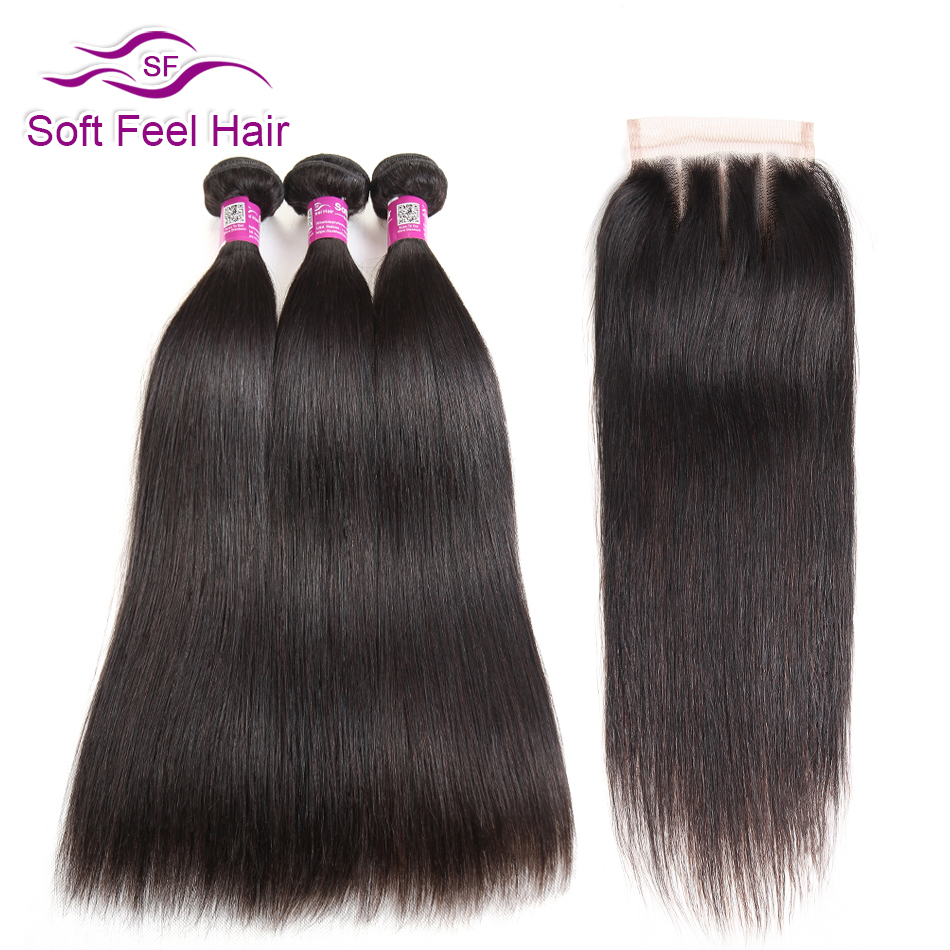 Soft Feel Hair Straight Hair Bundles With Closure Malaysian Hair With Closure Remy Human Hair 3