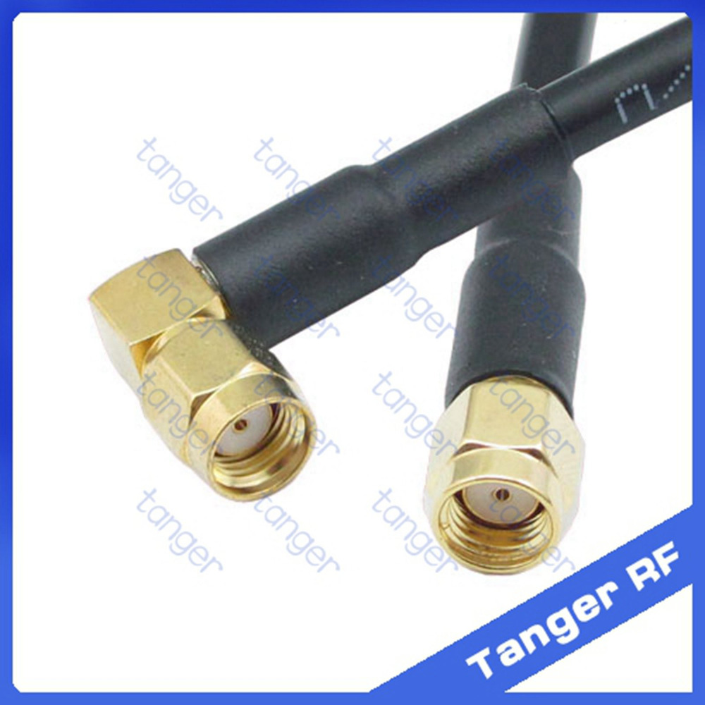 Tanger high quality  RP-SMA male to RP-SMA male right angle connector RF RG58 Pigtail Jumper Coaxial Cable 20inch 50cm new