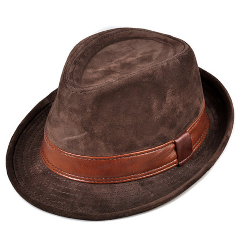 RY9108 Men Genuine Leather Suede Cow Skin Nubuck Brown Fedoras Hats Women Gentleman Male Jazz Hip