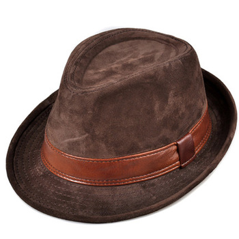 RY9108 Men Genuine Leather Suede Cow Skin Nubuck Brown Fedoras Hats Women Gentleman Male Jazz Hip Pop Caps 56-60cm Fitted Hat 1