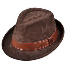 RY9108 Men Genuine Leather Suede Cow Skin Nubuck Brown Fedoras Hats Women Gentle