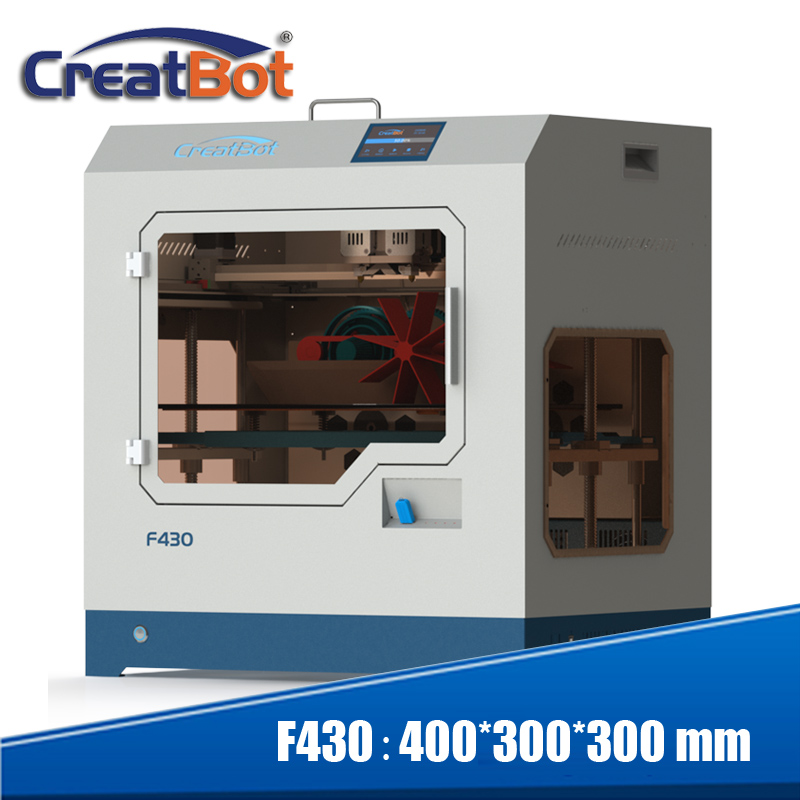Impressora 3d Creatbot F430 metal extrusoras dupla fechada cheia grande ecrã táctil a cores tamanho da impressão de 400*300*300mm 2 bico