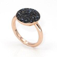Best новые Дизайн уникальный черный циркон круглый кольцо для друга Рождественский подарок Best продажи