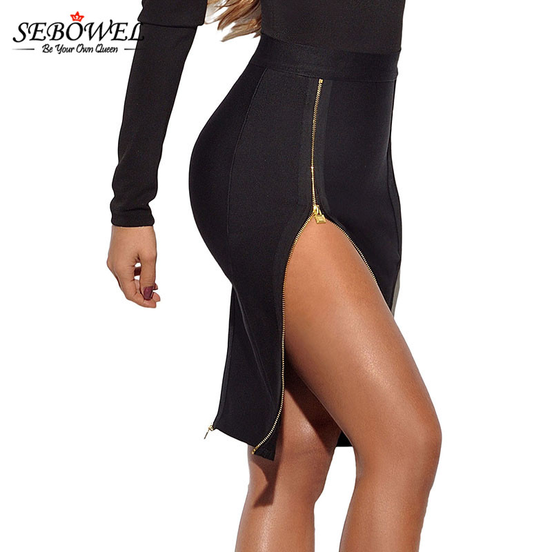 SEBOWEL 2017 New Burgundy Double Zip Slit High Waist Bandage Women Skirts Pencil Skirt Female Stretchy Sexy Half Women Skirts