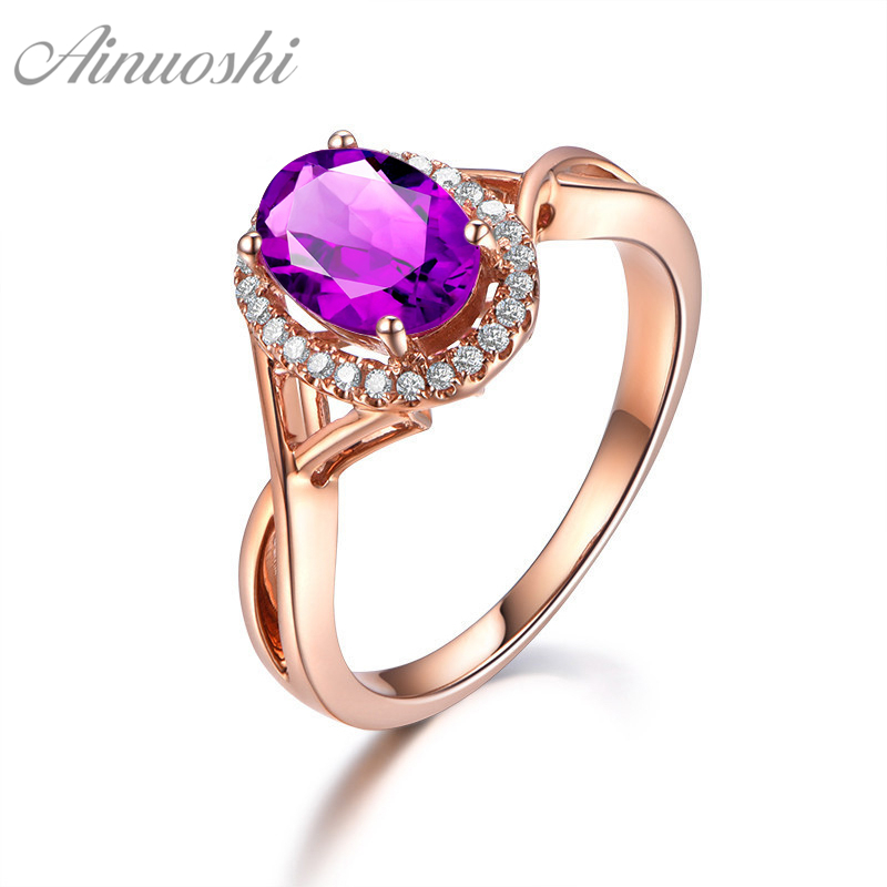 AINUOSHI Natural Amethyst Halo Ring 2ct Oval Cut Gem Engagement Party Women Jewelry Rose Gold Color