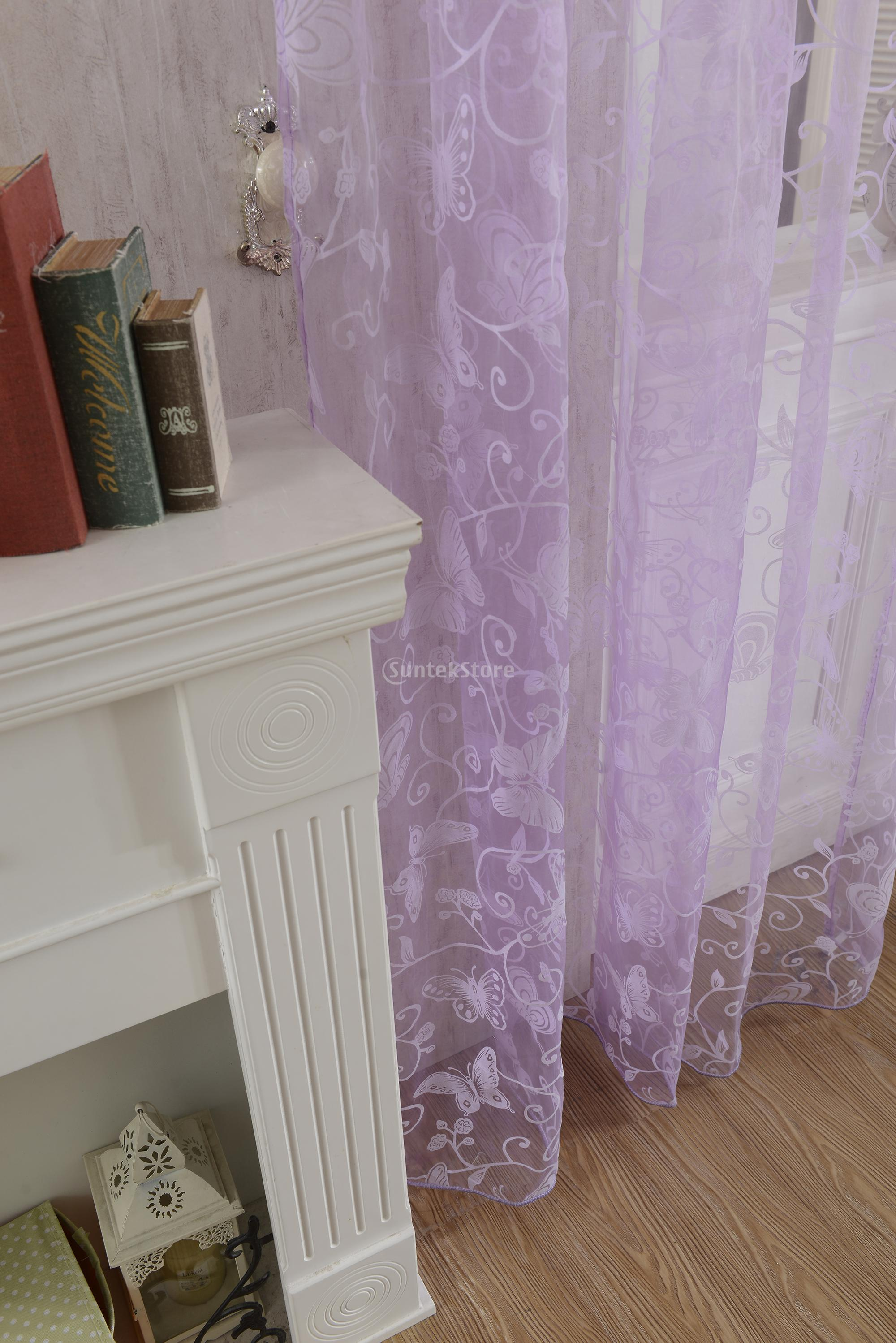 Flocking Butterfly Sheer Curtain Panel Window Tulle Divider Purple 100*200cm