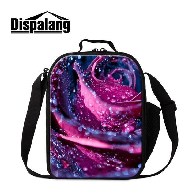 Dispalang Design Kids Lunch Bags Rose Plant Plant Insulated Lunch Box Tote Thermal Lunchbag Insulated Cooler Food Bags Bolsas