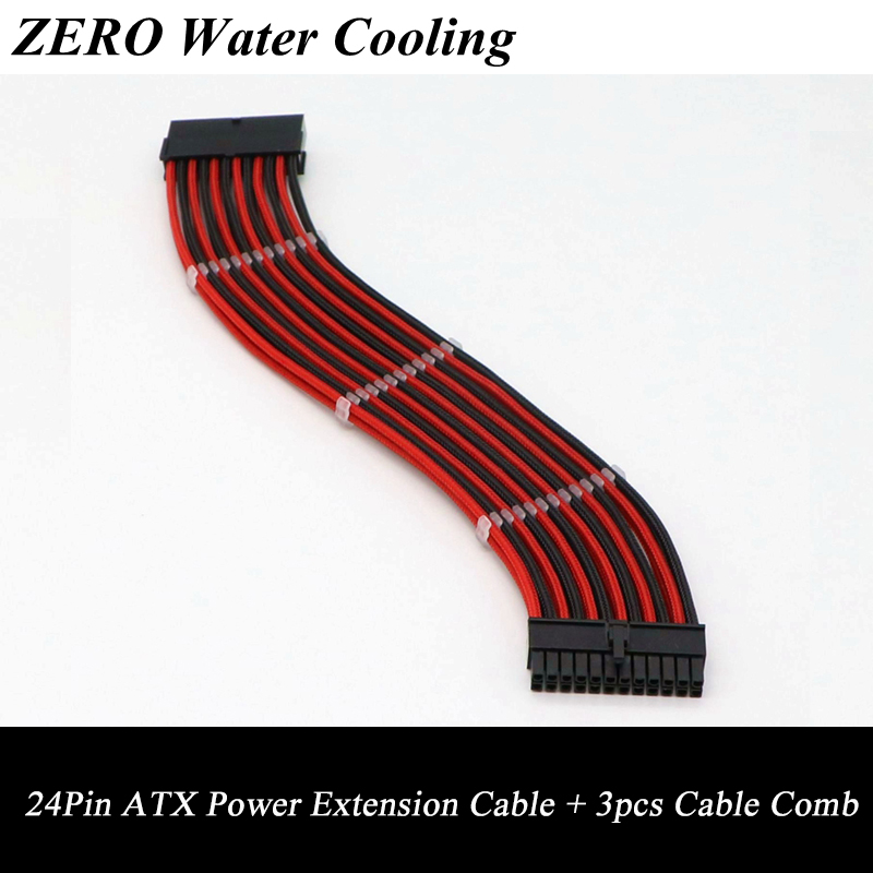 30cm Motherboard Multicolor Sleeved ATX 24Pin Male to Female Power Extension Cable + 3pcs Clear Cable Comb. free dhl ems red sleeved 12 black & red single sleeved cpu 8 pin atx female to male power extension cable 30cm