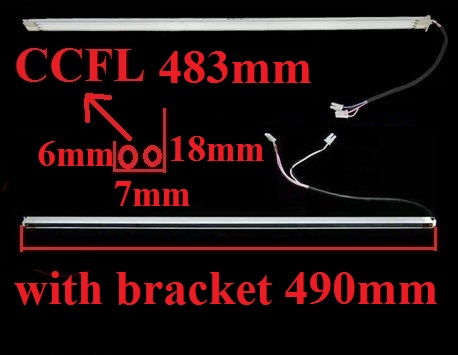 490mm*7mm CCFL Backlight Lamps with Frame/holder for 22 inch LCD Monitor Screen Panel Assembly Double lamps 2pcs