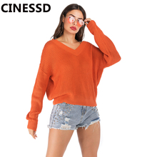 CINESSD Knitted Sweaters Women V Neck Long Sleeves Solid Pullovers Tops Orange Loose Casual Tee Shirts 2019 Autumn Lady Sweaters white v neck cold shoulder long sleeves sweaters