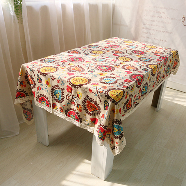 Sun Flower Square Table Cloth Cotton Linen Lace Rectangle Tablecloth Dining Cover Kitchen Home Diy
