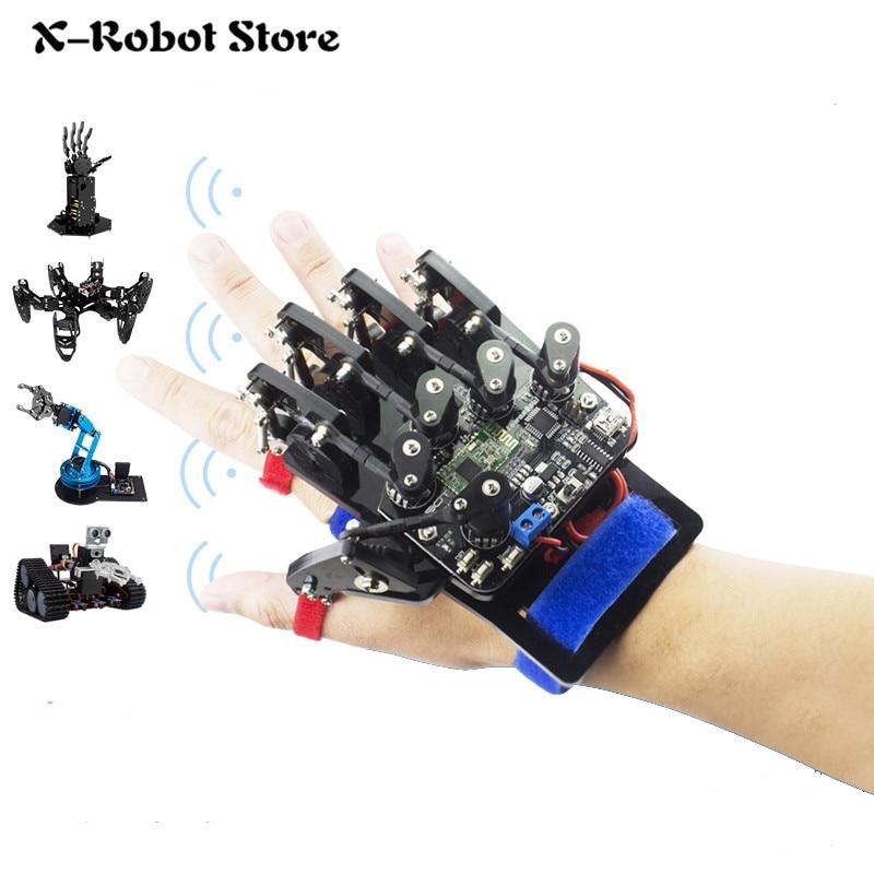 DIY Wearable Mechanical Glove Wireless Somatosensory Controller Exoskeleton RC Robot Hand Palm Finger Remote Control Robot