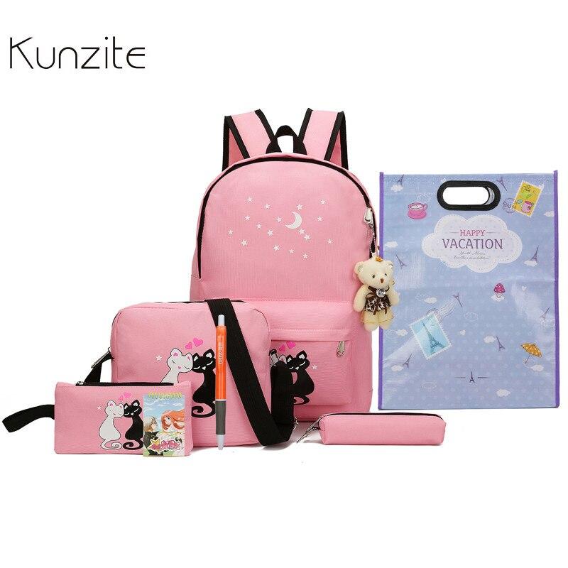 Kunzite 8Pcs Cute Animal Star Printing Backpack Women Canvas Backpack School Bags For Teenagers Girls School