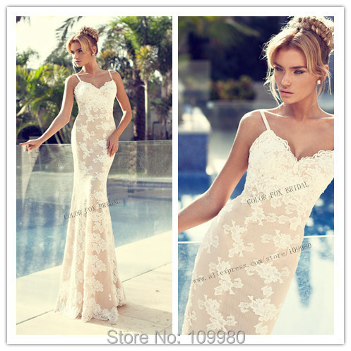 nude lace wedding dress white lace lining spaghetti straps mermaid 6205
