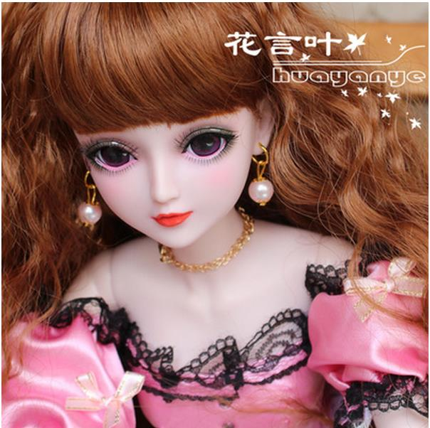 FULL SET Top quality 60cm pvc bjd 1/3 girl doll wig clothes shoes all included!night lolita reborn baby doll best huayan mcoser 70cm 60cm long pink and blue mixed beautiful lolita wig anime wig