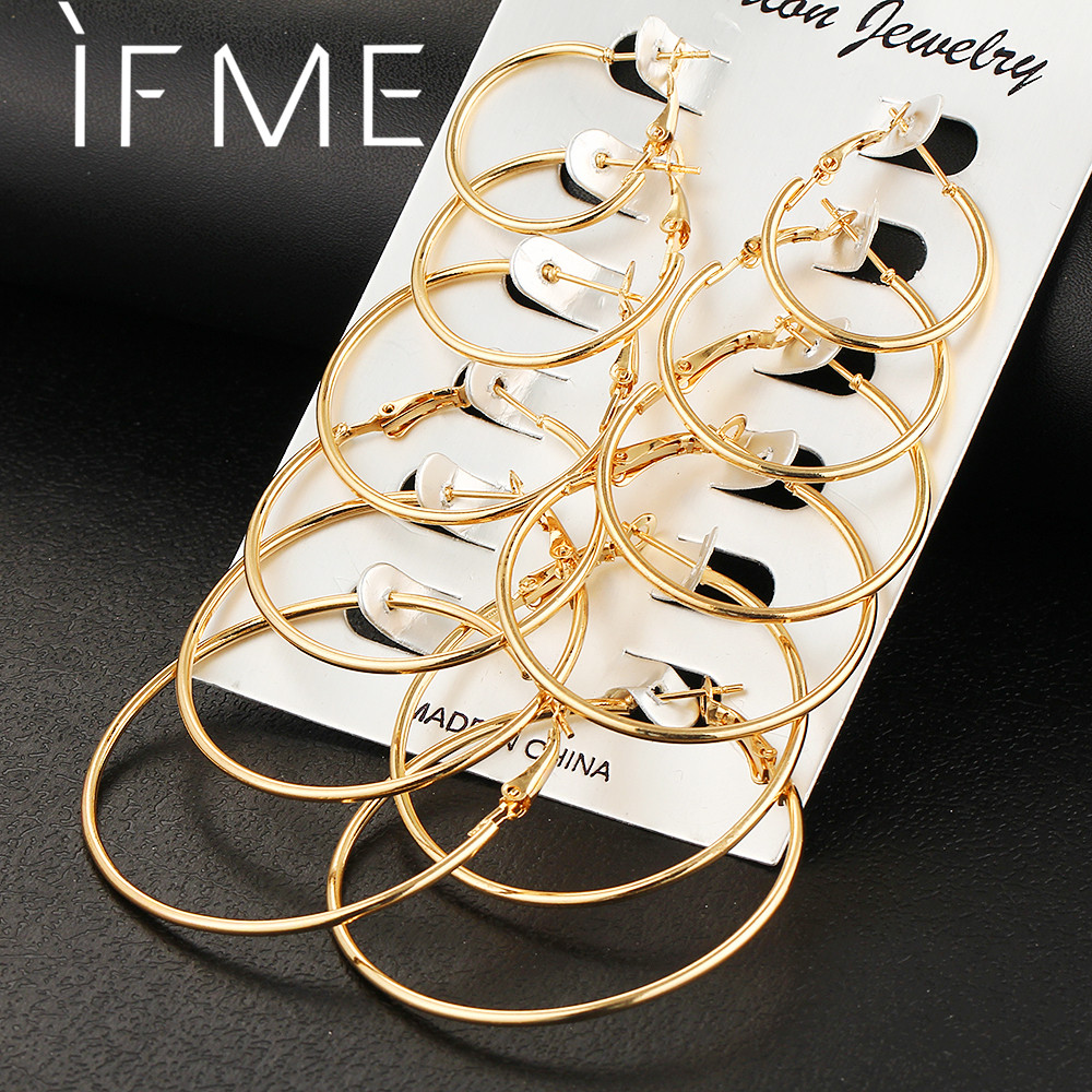 6 PCS / LOT Steampunk Guldfarve Big Hoop Earrings Simple Style Øreringe Høj kvalitet Engagement Gave Smykker Brinco Argola