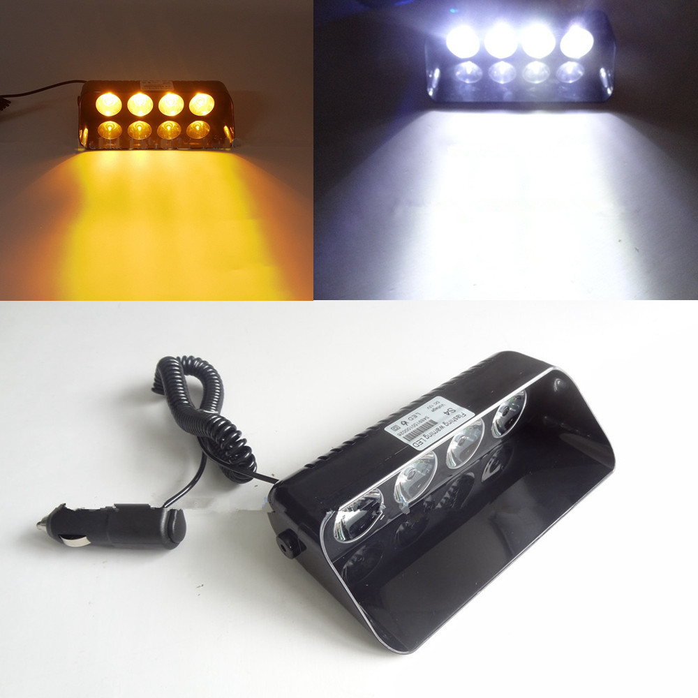 CYAN SOIL BAY 4 LED Car Police Strobe Flash Dash Emergency 7 Flashing Hazard Beacon Light 4LED Warning Lamp Amber White Yellow 4x 4 led car flash truck emergency beacon light bar hazard strobe warning amber white blue red